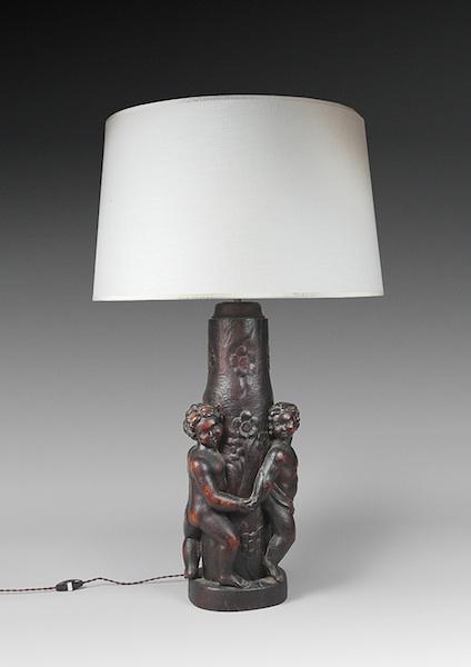Lampe bois putti