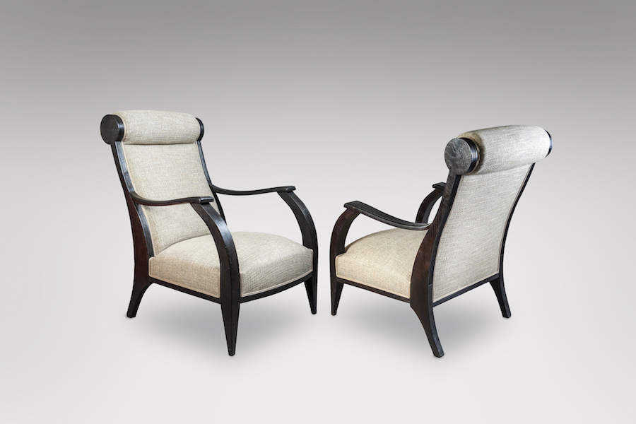 Fauteuils bois noirci 1930 - copie