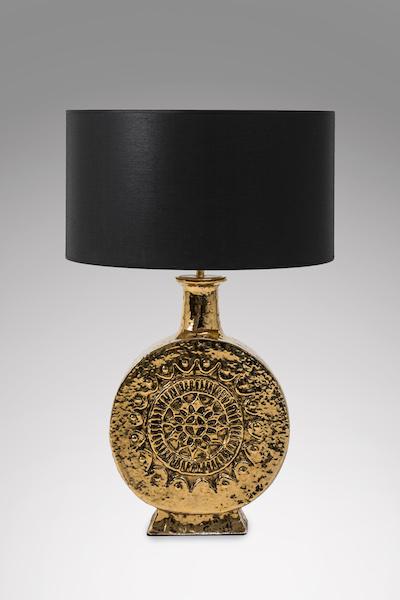Lampe céramique dorée